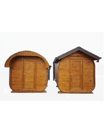 Sauna avec un toit ovale