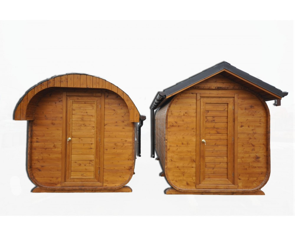 Sauna Avec Un Toit Ovale Vestiaire Et Pole  Bois Harvia