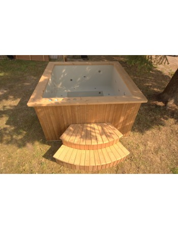 Bain nordique 180x180 cm, Bains sous forme de angulaire en bois traité thermiquement