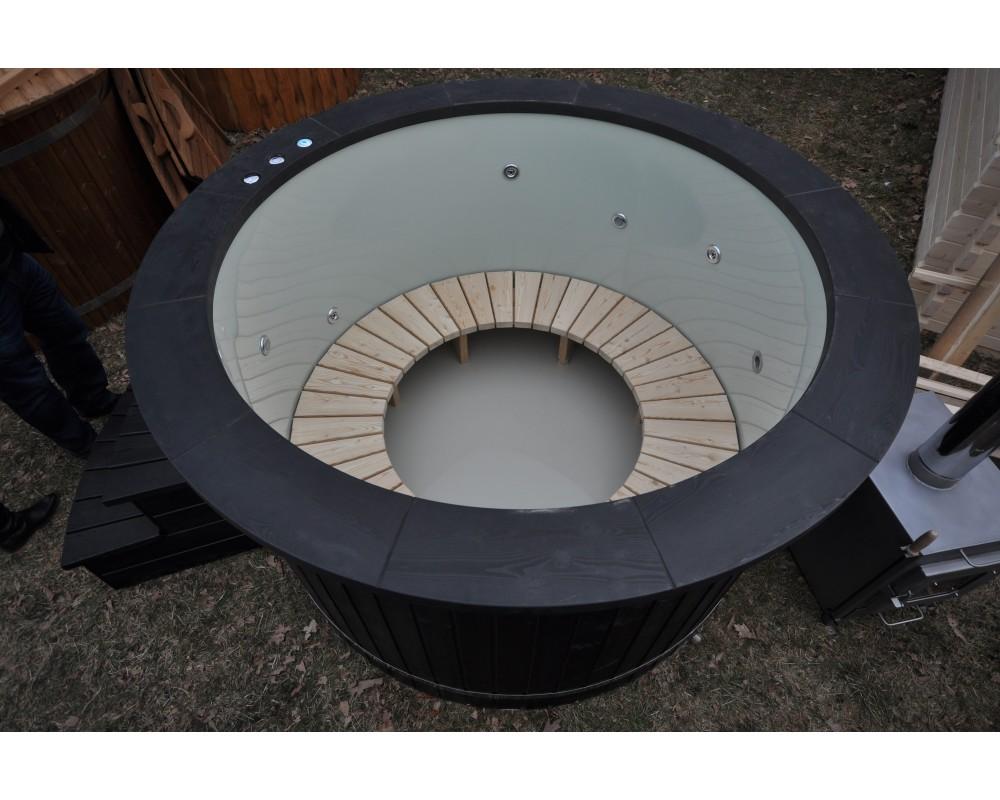 Bain nordique modèle - noir (160 cm + jacuzzi + LED)