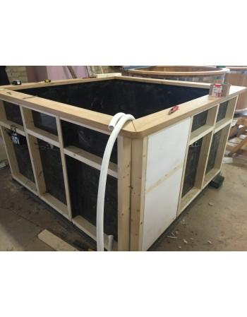bain nordique en plastique et en sapin. Black Bedroom Furniture Sets. Home Design Ideas